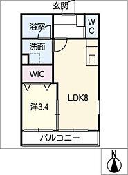 仮)幸心2丁目新築アパートB棟[3階]の間取り