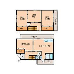 [一戸建] 奈良県奈良市学園大和町 の賃貸【奈良県 / 奈良市】の間取り