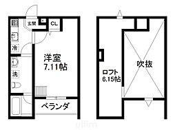 JR東海道・山陽本線 西大路駅 徒歩8分の賃貸アパート 1階1Kの間取り