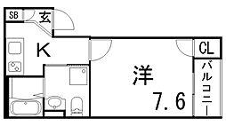 兵庫県神戸市長田区東尻池1丁目10の賃貸アパートの間取り