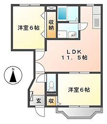 オンラード S・K[1階]の間取り