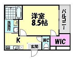 南海線 北助松駅 徒歩9分の賃貸アパート 2階1Kの間取り