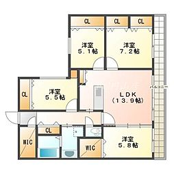 北海道札幌市中央区宮の森三条10丁目の賃貸マンションの間取り
