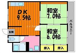 岡山県倉敷市玉島乙島の賃貸マンションの間取り