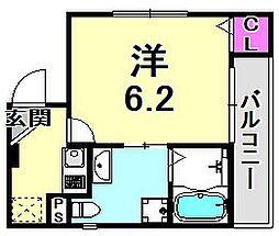 ソレイユ東雲 2階1Kの間取り