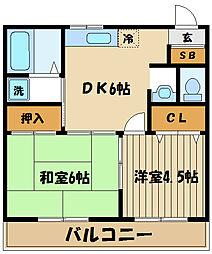 ルミエール本宿壱番館[1階]の間取り