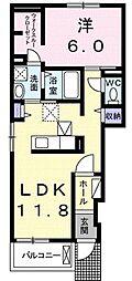 広島県福山市坪生町2丁目の賃貸アパートの間取り