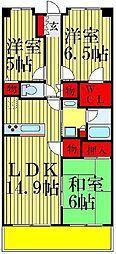 クレサージュ松戸六高台[506号室]の間取り