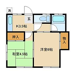 神奈川県横浜市戸塚区汲沢3丁目の賃貸アパートの間取り