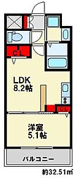 Nクレシア 3階1LDKの間取り