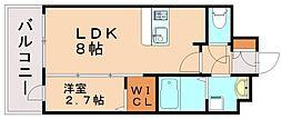 西鉄貝塚線 香椎宮前駅 徒歩1分の賃貸マンション 15階1LDKの間取り