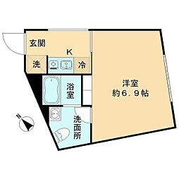 都営三田線 春日駅 徒歩8分の賃貸マンション 5階1Kの間取り