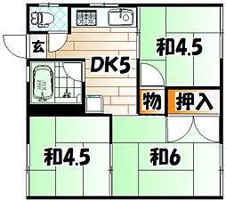 仲西アパート[1階]の間取り