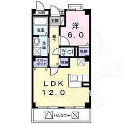南海高野線 萩原天神駅 徒歩8分の賃貸マンション 2階1LDKの間取り