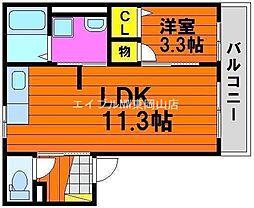 岡山県岡山市中区国富の賃貸アパートの間取り