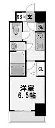 レジュールアッシュ京橋クロス 5階1Kの間取り