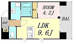 第26関根マンション 9階1LDKの間取り