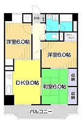埼玉県新座市野火止7丁目の賃貸マンションの間取り