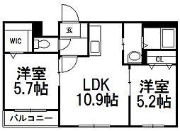 北海道札幌市白石区本郷通9丁目南丁目の賃貸マンションの間取り