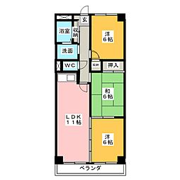 サンメゾン杁中[1階]の間取り