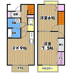 東京都あきる野市伊奈の賃貸アパートの間取り