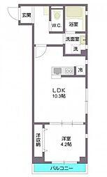 東京メトロ副都心線 西早稲田駅 徒歩8分の賃貸マンション 2階1LDKの間取り