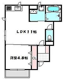 Osaka Metro谷町線 大日駅 徒歩5分の賃貸アパート 1階1LDKの間取り