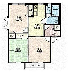 2階角部屋エテルノ安茂里 A[201号室]の間取り
