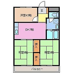 サニーサイド竹野[1階]の間取り