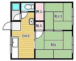 大阪府茨木市西駅前町の賃貸アパートの間取り