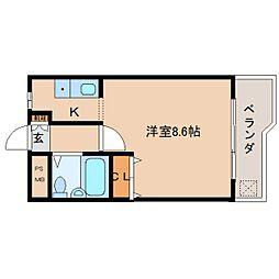 近鉄京都線 平城駅 徒歩18分の賃貸マンション 3階ワンルームの間取り