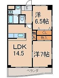 クレフォート皇后崎[502号室]の間取り