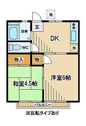 東京都府中市緑町2丁目の賃貸アパートの間取り