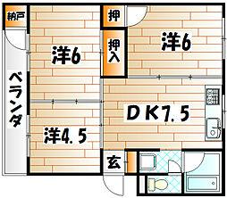 e−lux 大里[3階]の間取り