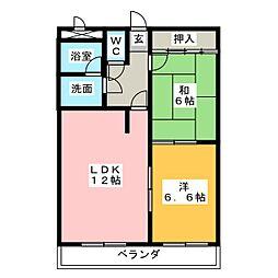 プリベールハイム[4階]の間取り
