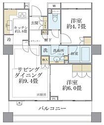 JR山手線 駒込駅 徒歩4分の賃貸マンション 9階2LDKの間取り