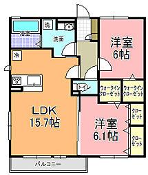 仮)D−room平須町[205号室]の間取り