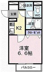 南海高野線 初芝駅 徒歩9分の賃貸マンション 2階1Kの間取り