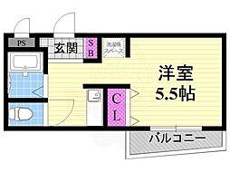 JR片町線(学研都市線) 忍ヶ丘駅 徒歩7分の賃貸マンション 2階1Kの間取り