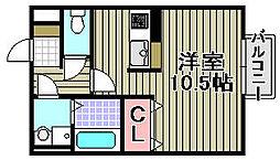 シェルズレイク日根野B[203号室]の間取り