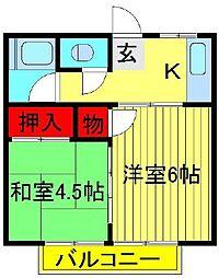 コーポラス関東[201号室]の間取り