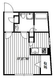 JR山手線 高田馬場駅 徒歩10分の賃貸マンション 2階ワンルームの間取り