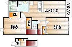 レフィナード三番街II[2階]の間取り