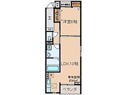 京阪本線 淀駅 徒歩30分の賃貸アパート 1階1LDKの間取り