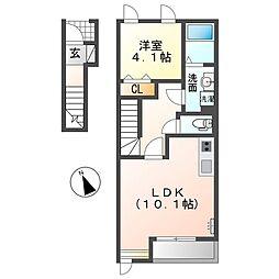 名鉄尾西線 六輪駅 徒歩15分の賃貸アパート 2階1LDKの間取り
