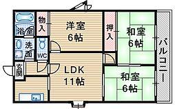 フローラ桜塚[401号室]の間取り