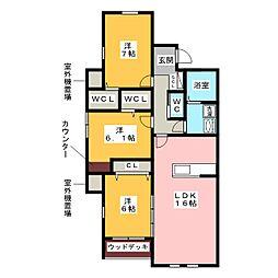 サイレントヒルズ弐番館[1階]の間取り