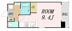 Osaka Metro谷町線 野江内代駅 徒歩5分の賃貸マンション 6階ワンルームの間取り