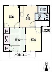 ハピネス幡山[1階]の間取り