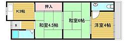 南野田平屋貸家 1階3Kの間取り